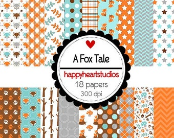 Digital Scrapbooking AFoxTale - Instant Download, Orange, Teal, Fox Papers