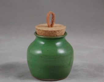 Small Bottle with Cork Lid in Bright Green Treasure Jar