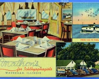 Waukegan IL Restaurant Postcard Mathon's for Ichthyophagists 1940s Unused Linen 17541