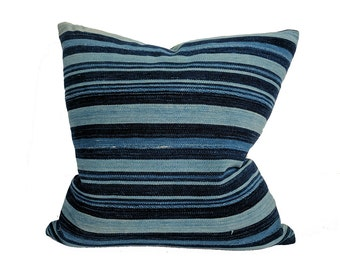 African Indigo Farmhouse Stripe Pillow | DUTCH 18x18