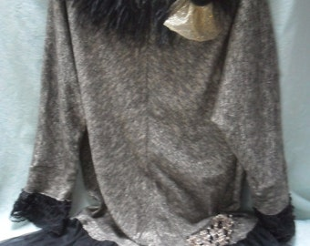 50% OFF TUNIC Top Holiday Roamtic Whimsical Recycled Boho Ostrich Feathers - Black and Gold