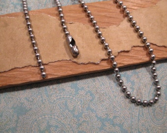 Stainless Steel 2.4mm  Ball Chain from Tierracast  - 30 Inches with One Clasp