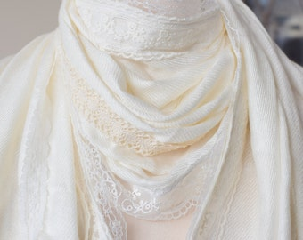 READY TO SHIP ivory and cream pashmina shawl wrap with vintage and contemporary lace