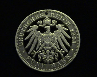 Germany - Prussia - 1903 - Silver - Cut Coin Pendant - Imperial Eagle - Beauty!!