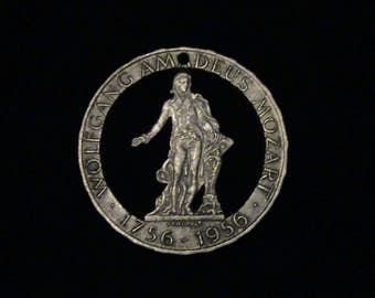 AUSTRIA - 1956 - cut coin jewelry -  Wolfgang Amadeus Mozart - SILVER