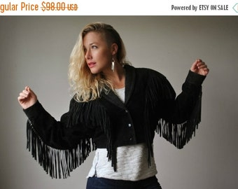 ON SALE 1980s Black Angel Fringe Jacket~Size Medium