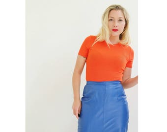 1990s Electric Blue Leather Skirt /// Size Small