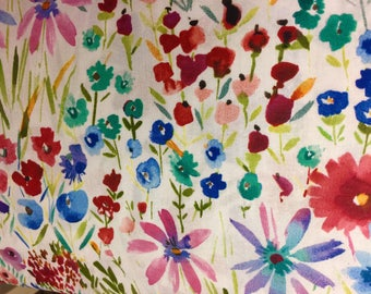 """Watercolor Flowers Blue Wine Valance Topper  New Window Curtain Treatment Cotton Fabric 42""""W x 15""""L"""