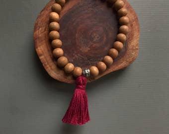 men's sandalwood 27 bead mala bracelet with tassel, tassel bracelet, mens wood bracelet, stretch bracelet, sandalwood bracelet, yoga jewelry