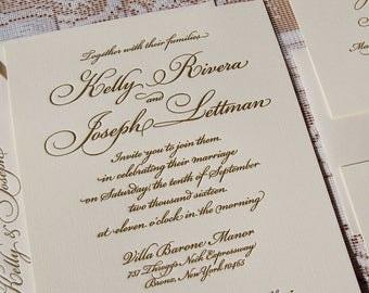 Letterpress Invitation, Wedding Invitation, Traditional Wedding Invitation, Invitation Suite, Wedding Invitations, Custom Invitation, Gold