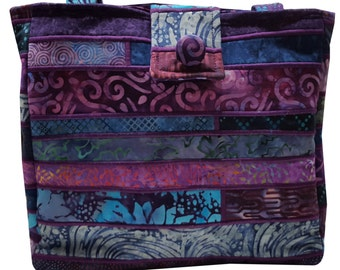 Large Batik Purse in Shades of Blue and Purple Fabrics