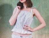 Paisley Frilly Cotton Cami + panty set - lingerie, babydoll, organic, sexy, pyjama, women, christmas, gift for her, underwear, sleep t-shirt