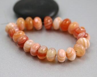 Natural Sardonyx Beads - Set of 21 - Sardonyx Beads - 10mm Rondelles