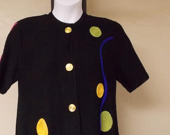 Alnoral vintage dress by Al Spokavicus, black wool rayon blend button front to hem XL appliqued