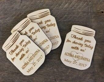 Thank You Favors, Weddings, Bridal Showers, Wedding Shower, Baby Shower, Birthday, Retirement, Rustic, Mason Jar, Thank You Card, Magnet