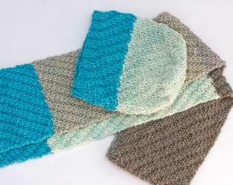 Hand Knit Hat and Scarf Set, Women's Winter Hat, Knit Scarf, Slouchy Beanie, Color Block Hat and Scarf Matching, Ready to Ship
