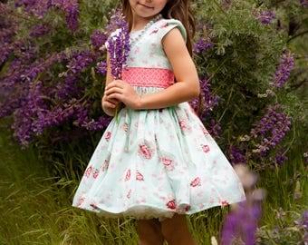 Girls Floral Aqua Dress - Tea Time Dress - Vintage Style Party Dress - Lace Collar Dress - Coral and Aqua Dress