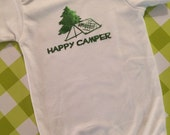 HAPPY CAMPER Baby Onesie - You Pick The Size - Perfect for Baby Boy or Baby Girl