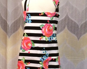 Kate Floral & Stripes Girls Kitchen Apron - FREE or PRIORITY Shipping
