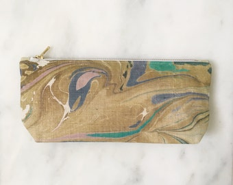 Marbled Cosmetic Pouch // pencil case // makeup bag // gift for her under 30 // yellow purple gold