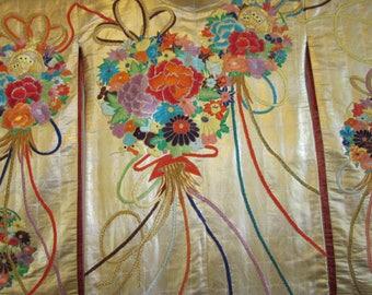 Antique Wedding Kimono In Gold