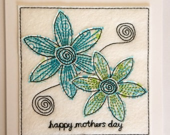 Sketchy Blue Flower - Happy Mothers Day Card