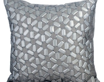 "Handmade Silver Pillow Covers, 16""x16"" Silk Pillowcase, Square 3D Metallic Sequins Embroidery Lattice Trellis Pillows Cover - True Silver"