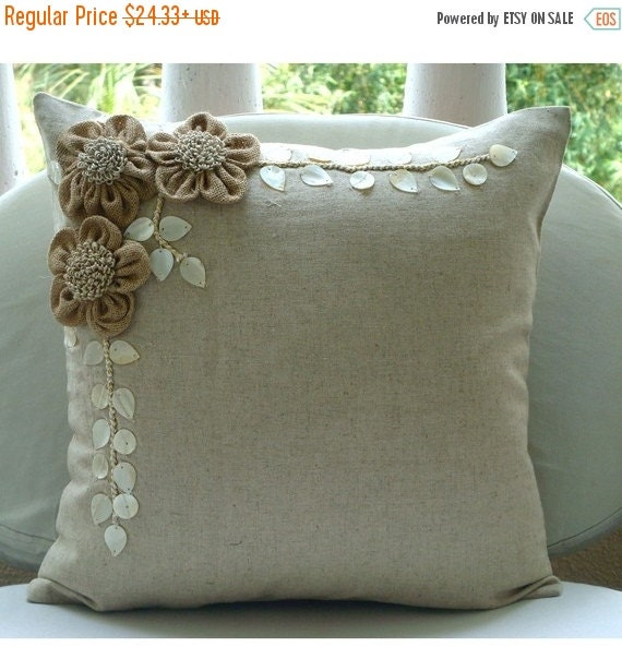 """15% HOLIDAY SALE Ecru Throw Pillows Cover For Couch, 16""""x16"""" Square Cotton Linen Pillows Covers For Couch - Jute Blooms"""