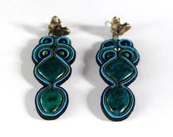 Azurite-malachite soutache earrings