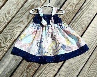 Girls Navy Dress - Toddler Girls Dress  - Navy Sundress - Girls Spring Dress -  Girls Birthday Dress - Toddler Girl Dress -  Groovy Gurlz