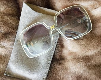 Vintage Nina Ricci Paris big sunglasses with suede case