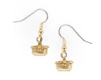 Basket Charm Earrings gold oval Nantucket Shaker USA-made lead-free