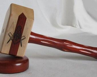 Masonic Gavel Set - Padauk and Maple with Padauk Inlay - Engraved Symbols