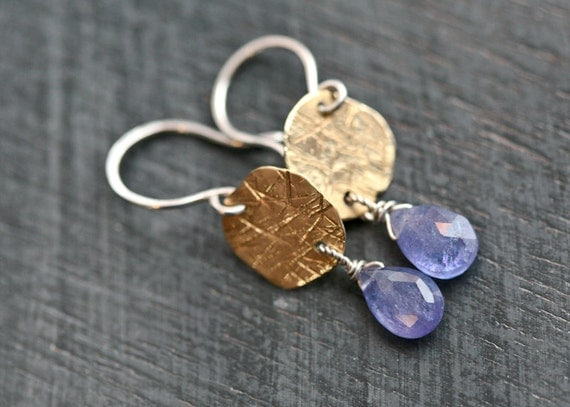Textured Brass Disks and Periwinkle Tanzanite Dangles Sterling Silver Earrings