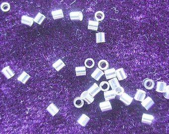 BEAD, CRIMP, 2 X 2mm, Best Quality, TUBE, Sterling, Silver, Cylinder, Smooth, 10 or100 Pieces, Bright, Liquid Silver, I