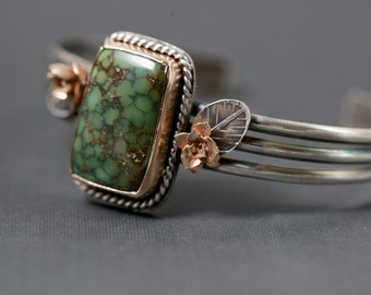 Damele Turquoise 14k Gold Sterling Silver Cuff Cast Succulent Jewelry Handmade OOAK