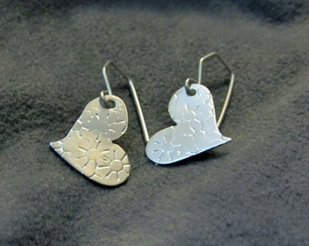 Argentium Sterling Silver Textured Heart Earrings