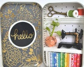 Tiny Tin Sewing Room ~ Hello/Black & Gold
