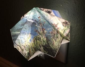 Beach Origami Night Light, Children's Night Light, Safety Light, Night Light Lamp, Geometric, Origami, Kids Night Light, Janice Smith Art