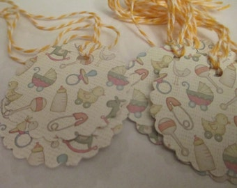 8 Baby Shower Themed Hang Gift Tags