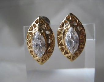 Marquise Gold Clear Faceted Earrings Post Pierced Filigree