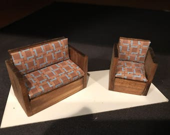 "half scale, 1:24, 1/2"" Dollhouse Miniature Sofa and Chair Set"