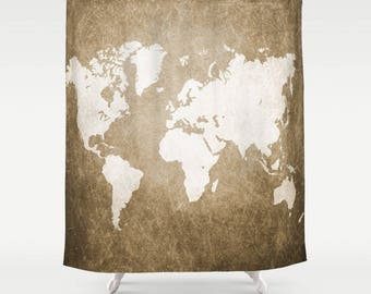 Shower Curtains Art Shower Curtain Bathroom Design 56 World Map Brown Sepia art L.Dumas