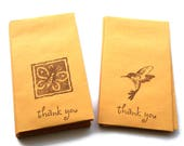 20 Business Card Envelopes, Manila, Thank You Butterfly Hummingbird Gift Card Envelopes, Stamped in Brown