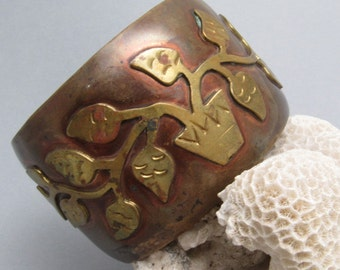 Wide Vintage Cuff Bracelet Copper and Brass Vine Leaf B7590