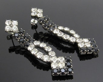 Long Rhinestone Earrings Vintage Jewelry Black Rhinestones E7649