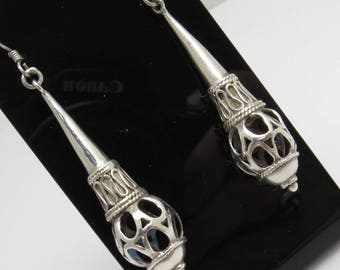 Long Sterling Earrings Vintage Jewelry Ethnic Tribal E6734