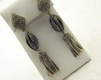 Long Sterling Marcasite Earrings Tassel Shoulder Dusters E6987