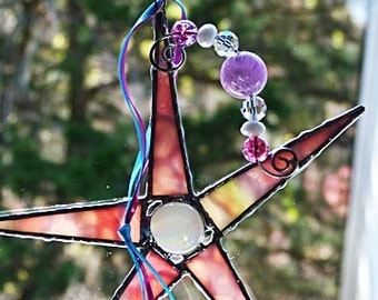 Stained Glass Star, Whimsical, Pink and White, Art Glass, with Sliver Wire, and Crystal Beads,