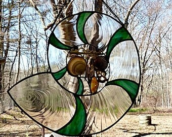 Stained Glass, Large Suncatcher, Nautilus Shell, with Seashells